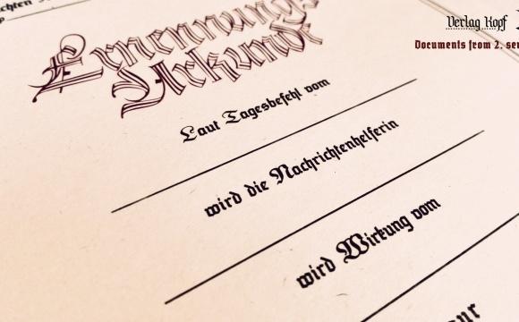 Colorful promotion diploma for Nachrichten-Vorhelferinnen.