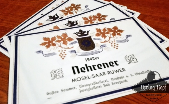 Set of 4 riesling wine labels.