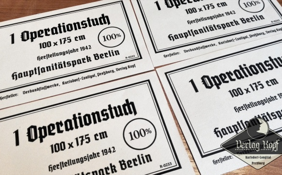 Labels for packages of Operationstuch.