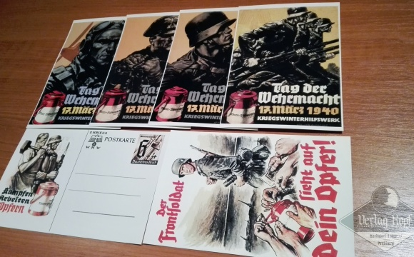 An unique set of four postcards presenting Tag der Wehrmacht 1940, supplemented by another two Winterhilfswerk postcards.