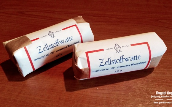 Amazing reproduction of historical Zellstoffwatte package.
