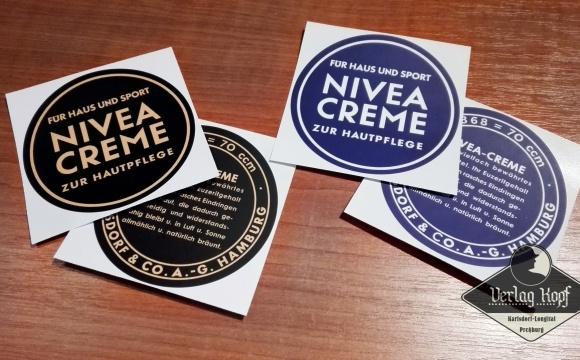 Set of historical labels for Nivea creme.