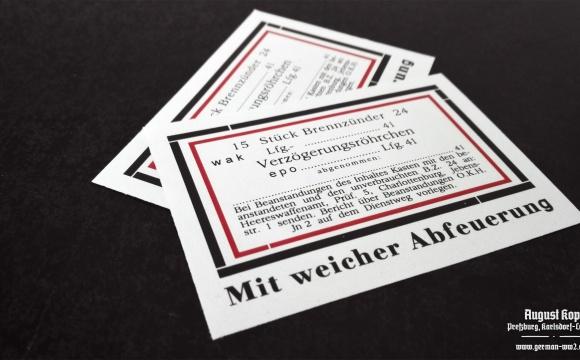 Set of paper labels for metal or paper box 15 Stück Brennzünder 24.