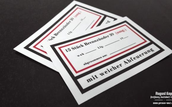 Set of paper labels for metal or paper box 15 Stück Brennzünder 39.