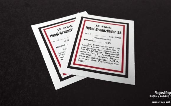 Set of paper labels for metal or paper box 15 Stück Nebel-Brennzünder 38 (smoke grenades).