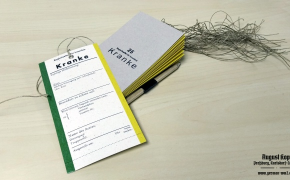 Medical tearing notebook worn by medical personnel in hospitals or lazarets.