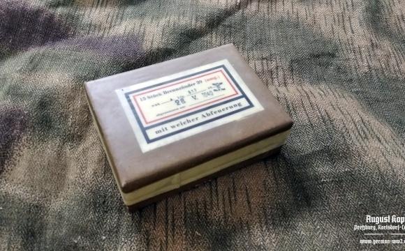 Attractive cardboard box dedicated for storing of fuzes Brennzünder model 39.