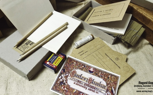 Nice reproduction of gift package sent to front for Slovak soldiers by HSĽS party helpers.