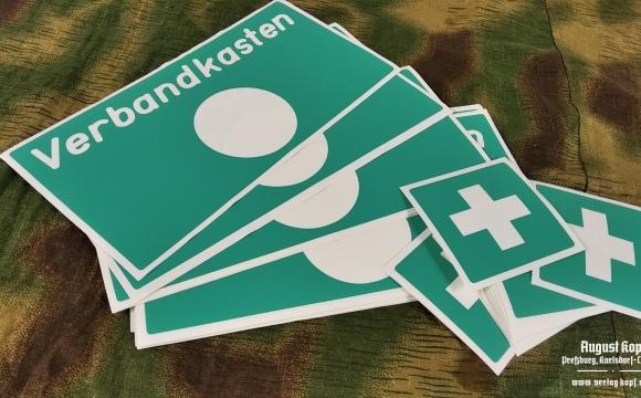 Plastic sticker stencil for first aid kid, medical box.
