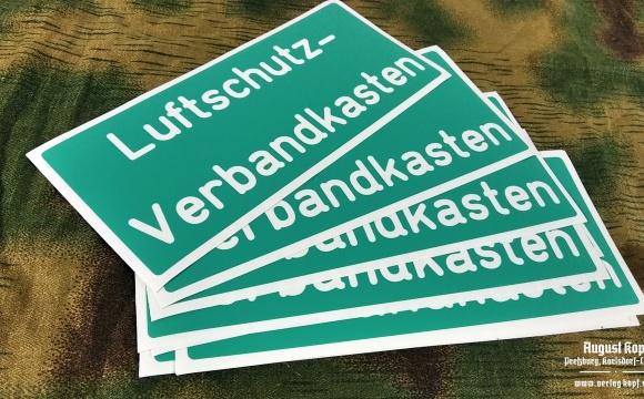 Plastic sticker stencil for first aid kid dedicated for Luftschutz.