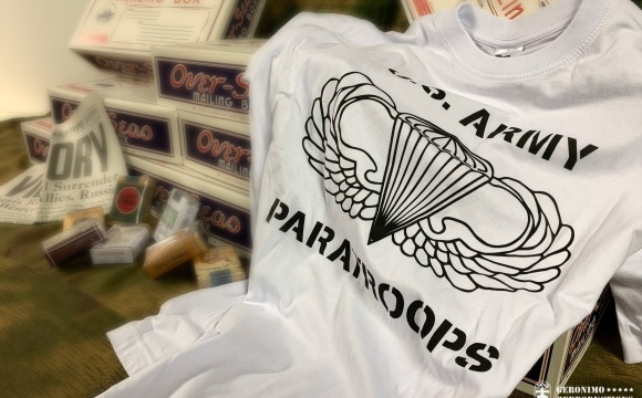 Newly made white T-shirt in sizes: S, M, L for common wearing.