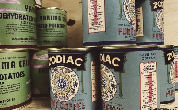 WW2 US adapted design Zodiac coffee tin full of ground coffee.