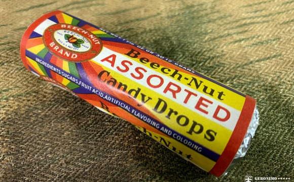 Reproduction of a WW2 era hard candy, procured also by the US Army! Our reproduction contains 7 pieces of assorted fruit flavored hard candy.