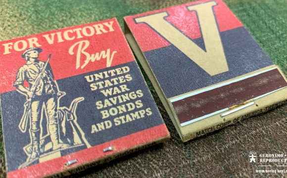 Reproduction matchbook with patriotic designs, practical morale boosters.