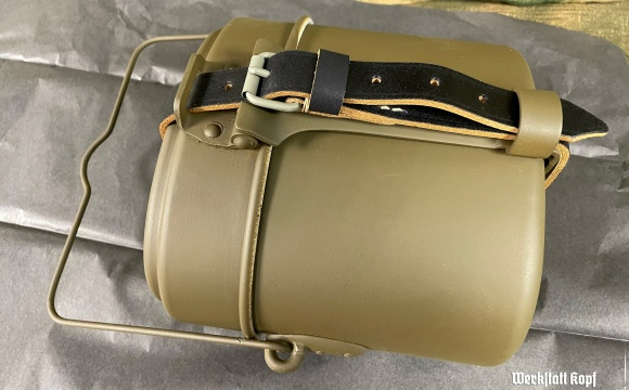 Complete aluminium mess kit was originally issued to postwar border guard, marked 66.