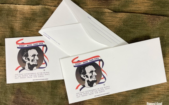 3x WW2 vintage envelope with Abraham Lincoln depicted.
