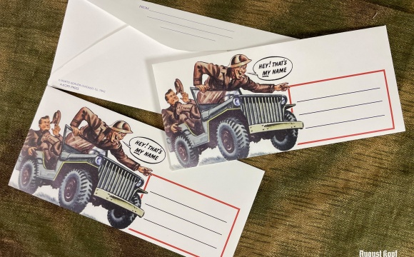 3x WW2 vintage envelope with Army ilustration depicted.