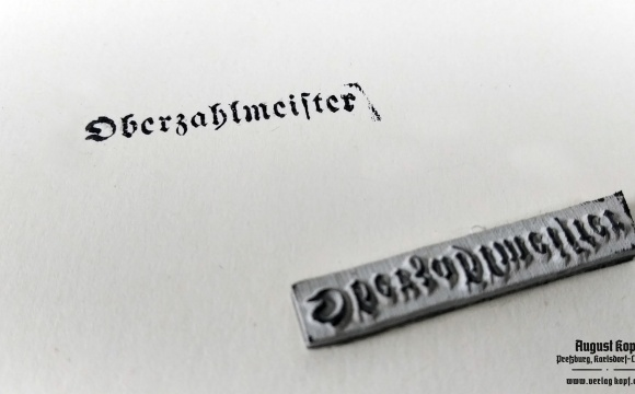 Stamp function Oberzahlmeister for official documents.