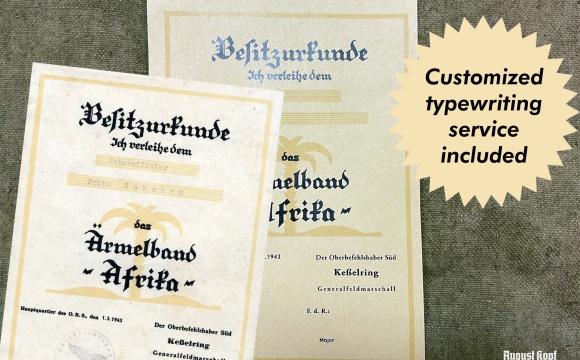 Ärmelband Afrika certificate for units that wear Afrika armband.