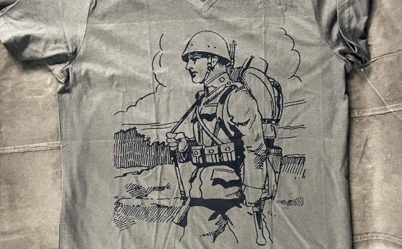 Khaki T-shirt with illustration from original army handbook.