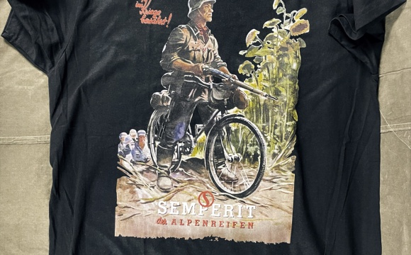 Black T-shirt with famous bike illustration from original poster Semperit.