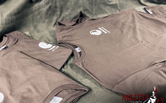 Chocolate Brown T-shirt with our credentials.