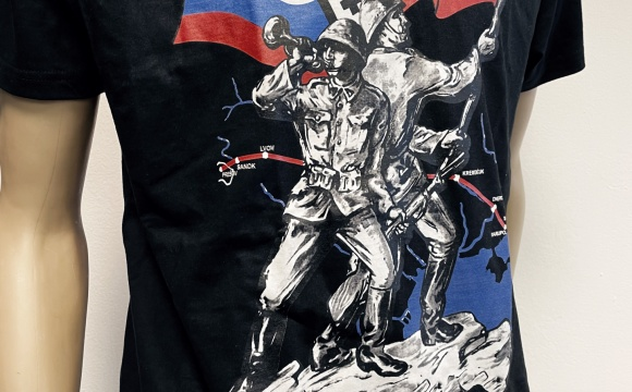 Black T-shirt with popular postcard illustration depicting campaign of Slovak units.