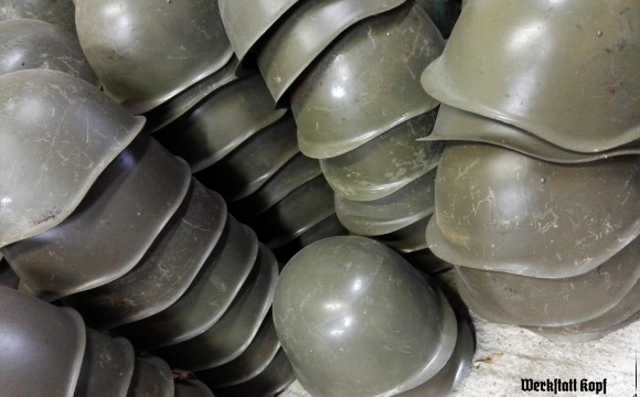 Durable Soviet era army steel helmet, shape Vz53.